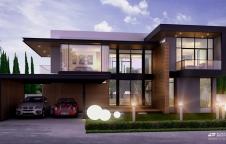 รับสร้างบ้าน Modern 330ตรม 4ห้องนอน 4ห้องน้ำ พร้อมตกแต่ง กทม.