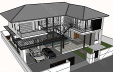 รับสร้างบ้านรีสอร์ท 4ห้องนอน 5ห้องน้ำ 389ตรม RE-H2-505.389