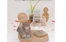 D-DRC202 ตุ๊กตาโถแก้วปลูกต้นไม้ ลายเด็ก