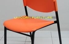เก้าอี้โพลีขาเหล็ก ที่นั่งและพนักพิงเลือกสีได้