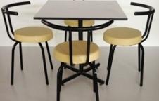 ชุดโต๊ะอาหาร เก้าอี้หนังพิงเส้นเดียว 4 ตัว+โต๊ะ 1 ตัว