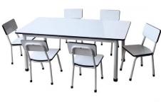 ชุด โต๊ะอนุบาล 1 ชุดประกอบด้วยโต๊ะ 1 ตัวเก้าอี้ 6 ตัว