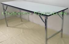 โต๊ะพับ โต๊ะประชุม โต๊ะสัมมนา ขาชุบโครเมียมเงา หน้าโต๊ะขาวตัน