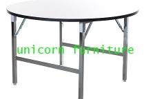 โต๊ะจีน โต๊ะประชุม โต๊ะจัดเลี้ยง ขาชุบโครเมี่ยมเงา หน้าโต๊ะขาวตัน