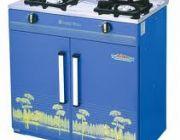 เตาแก๊สตู้ 2 หัวเตา หน้าเตาสแตนเลส เคลือบสี ยี่ห้อลัคกี้เฟลม รุ่น HQ-204