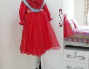 ชุดเด็กมุสลิม สไตล์เจ้าหญิง พร้อมผ้าคลุม ฮิญาบ สีแดง