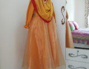 ชุดเด็กมุสลิม สไตล์เจ้าหญิง พร้อมผ้าคลุม ฮิญาบ สีทอง