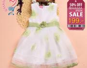 ชุดเดรสเจ้าหญิง สีขาวลายดอกไม้สีเขียวมี