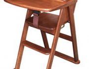 เก้าอี้ทานข้าวเด็กไม้ยางพารา เก้าอี้ไฮแชร์ พับเก็บได้ สีน้ำตาลเข้ม S-144 BR