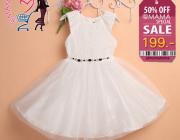 ชุดเดรสเจ้าหญิงสีขาว เสื้อเปิดแขนลายลูกไม้ สินค้ามาใหม่ พร้อมส่ง