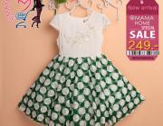 ชุดเดรสเจ้าหญิง กระโปรงลายจุดสีขาวและสีเขียว สินค้ามาใหม่ พร้อมส่ง