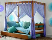 เตียง นอน 4 Poster พร้อมผ้าม่านสีม่วง และเตียงเลื่อนเสริม แบรนด์ Tomato Kidz
