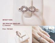 แหวน INFINITY ทองคำขาวฝังเพชร