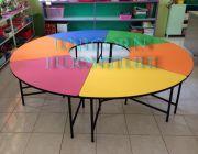 โต๊ะอนุบาล รุ่น โดนัท หน้าโต๊ะโฟเมก้า มีให้เลือกกว่า 50สี ทนร้อน ทนน้ำ ทนรอยขีด