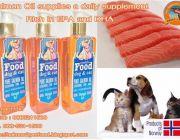 อาหารเสริม สุนัขและแมว น้ำมันปลาแซลมอน บำรุงขนหนัง คุณภาพสูง ผลิตจากเนื้อปลาแซลม