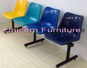 เก้าอี้โพลีแถว เก้าอี้พักคอย เก้าอี้โครงสร้างเหล็กแป๊ปกลมโครงพ่นสีฝุ่น Epoxy สีด