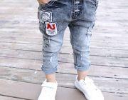 กางเกงยีนส์เด็กขายาว สีดำ อายุประมาณ 3-5 ปี เอวยางยืด