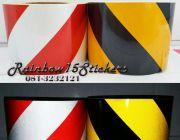 จำหน่ายสติ๊กเกอร์สะท้อนแสงลายเฉียง ขาวแดง เหลืองดำ ขนาด4นิ้ว