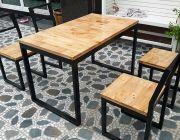 โต๊ะขาเหล็กเส้นขนาด 70x120 เก้าอี้พนักพิงเอียง4 ตัว จัดโปร